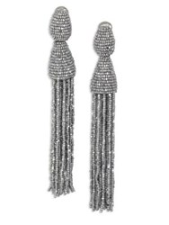 Oscar De La Renta Long Beaded Tassel Clip On Earrings Silver