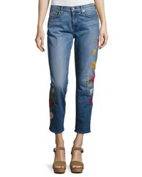 7 For All Mankind Rose Garden Embroidered Boyfriend Jeans Blue