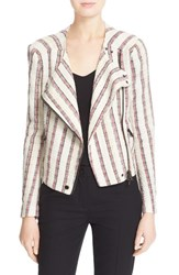 Women's Veronica Beard 'Mara' Stripe Tweed Moto Jacket Multi Stripe