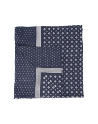 Tommy Hilfiger Navy Blue Cotton Scarf With Micro Motif