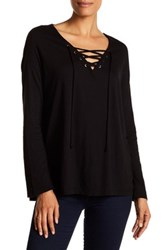 Sundry Long Sleeve Slub Lace Up Tee Black
