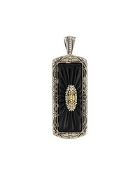 Konstantino Iris Silver And 18K Carved Onyx Rectangle Pendant Enhancer Women's