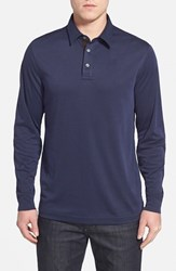 Men's John W. Nordstrom Long Sleeve Pique Polo With Faux Suede Trim