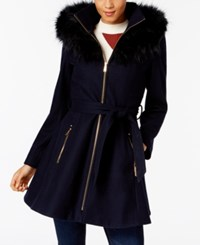 Laundry By Shelli Segal Faux Fur Trim Skirted Coat Classic Navy