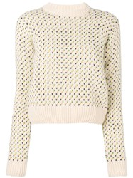 Ymc Birdseye Crew Knitted Sweater Nude And Neutrals