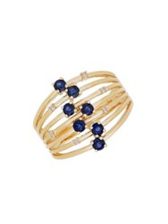 Lord And Taylor Diamond Sapphire 14K Yellow Gold Round Stones Ring
