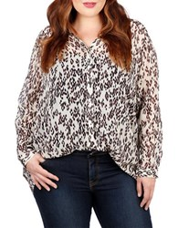 Lucky Brand Plus Plus Leopard Long Sleeve Shirt White