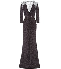 Roberto Cavalli Leopard Print And Lace Gown Black