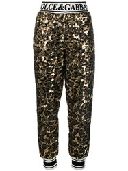 Dolce And Gabbana Sequined Track Trousers Black