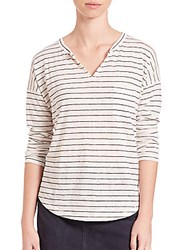 Set Striped Drop Shoulder T Shirt White Blue