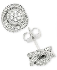 Wrapped In Love Diamond Fancy Stud Earrings 1 2 Ct. T.W. Sterling Silver
