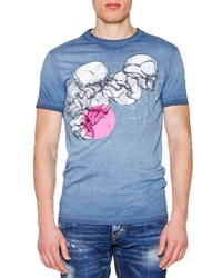 Dsquared Skull Graphic Short Sleeve Jersey Tee Blue