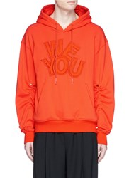 Feng Chen Wang 'We You' Padded Applique Drawstring Trim Hoodie Orange