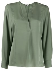 Vince Crepe Shirt Green