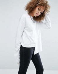 Asos T Shirt With Exaggerated Step Hem And Super Long Sleeves White