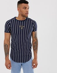 Sik Silk Siksilk Muscle T Shirt In Navy Stripe