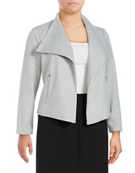 Calvin Klein Plus Textured Open Front Blazer Grey