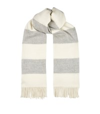 Ralph Lauren Purple Label Striped Cashmere Scarf Grey