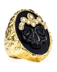 Alexis Bittar Elements Black Agate Skull Cameo Ring