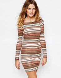 First And I Off Shoulder Striped Bodycon Dress Multi