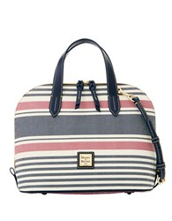 Dooney And Bourke Colorblock Striped Coated Canvas Zip Satchel Red Navy