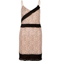 River Island Womens Nude And Black Lace Cami Slip Dress
