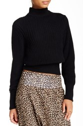 American Apparel Mock Neck Knit Pullover Black