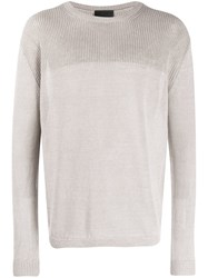 Iris Von Arnim Panelled Knit Crew Neck Jumper Neutrals