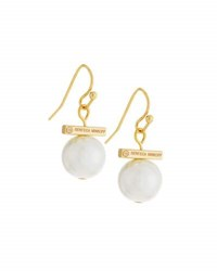 Rebecca Minkoff 12K Gold Plated Small Pearly Bead Drop Earrings No Color