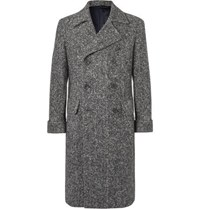 Rubinacci Slim Fit Double Breasted Herringbone Virgin Wool Coat Gray