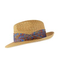 Etro Straw Fedora Hat With Paisley Ribbon Trim Blue