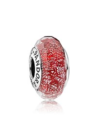 Pandora Design Pandora Charm Sterling Silver And Glass Red Shimmer