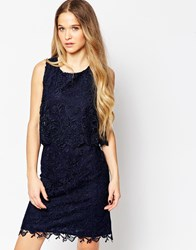 Soaked In Luxury Lace Overlay Dress Royalblue