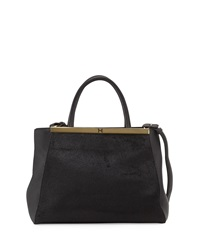 Halston Heritage Leather Semi Constructed Satchel Black
