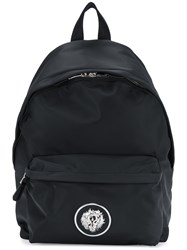 Versus Logo Plaque Backpack Polyimide Polyester Cotton Calf Leather Black