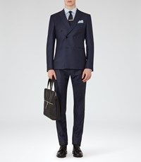 Reiss Arno Double Breasted Check Suit In Navy