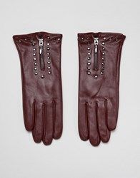 Barney's Originals Real Leather Gloves With Zip And Studs Red