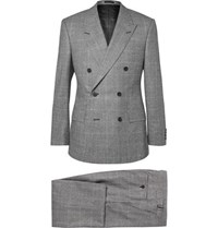 Kingsman Grey Slim Fit Double Breasted Prince Of Wales Checked Suit Gray