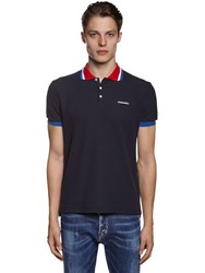 Dsquared Classic Logo Printed Cotton Pique Polo Navy