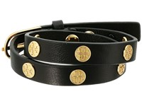 Tory Burch Double Wrap Logo Stud Bracelet Black Shiny Gold