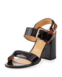 Sesto Meucci Two Tone Patent Leather Sandal Black Tan