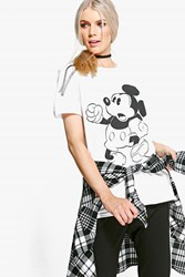 Boohoo Mickey Mouse Front Print Shirt White