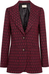 Gucci Woven Wool Blazer Red