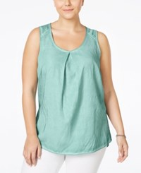 Junarose Plus Size Pleated Tank Top Pastel Turquoise