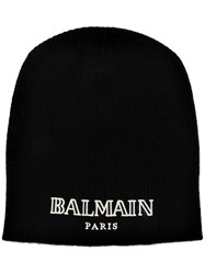 Balmain Cashmere Logo Embroidered Beanie Black
