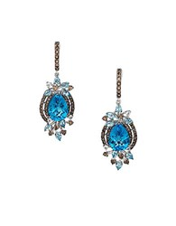Le Vian Crazy Collection Blue Topaz White Topaz And Smoky Quartz 14K White Gold Earrings