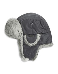 Crown Cap Rabbit Fur Accented Trapper Hat Charcoal