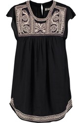 Joie Rankin Embroidered Jersey Top Black
