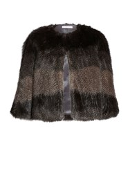 Gina Bacconi Subtle Stripe Faux Fur Cape Multi Coloured Multi Coloured