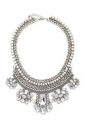 Forever 21 Faux Gem Statement Necklace B.Silver Clear